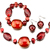 Garnet 4  Pieces Of Bracelet Earrings Set Pendant Necklace Jewelry